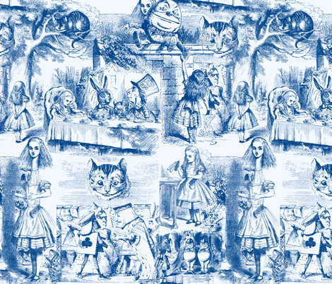 Curiouser and curiouser!  An Alice Toile ~ Blue fabric by peacoquettedesigns on Spoonflower - custom fabric