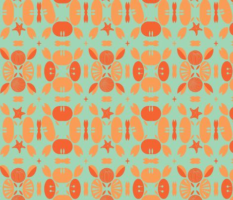 Crabby Patty Coral Aqua fabric by wren_leyland on Spoonflower - custom fabric
