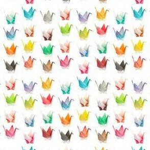 Rainbow origami cranes