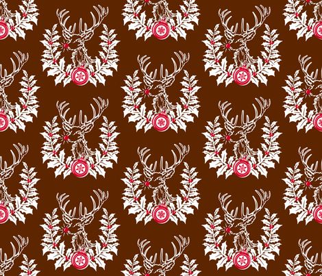 Rudolph Crest ~ Brown fabric by retrorudolphs on Spoonflower - custom fabric