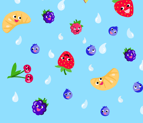 Happy Fruit Blue XL fabric by johanna_lange_designs on Spoonflower - custom fabric
