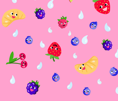 Happy Fruit Pink XL fabric by johanna_lange_designs on Spoonflower - custom fabric