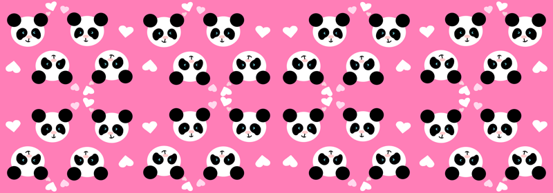 Panda Love Pink XL Wallpaper