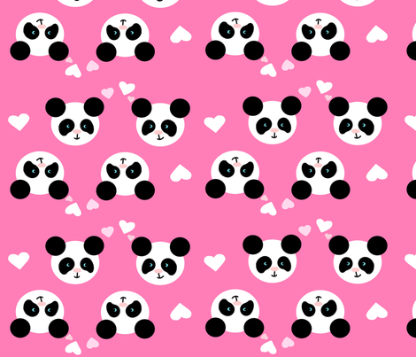 Panda Love Pink XL fabric by johanna_lange_designs on Spoonflower - custom fabric