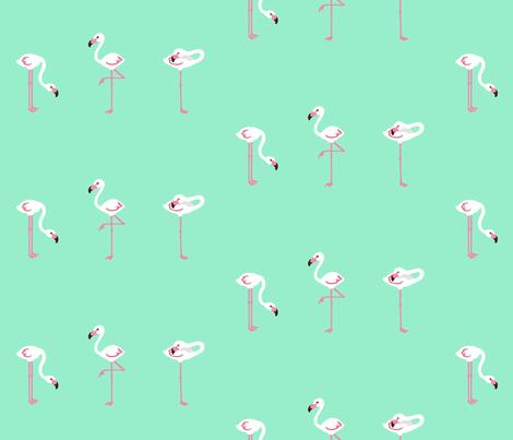 flamingoes Turquoise XL fabric by johanna_lange_designs on Spoonflower - custom fabric