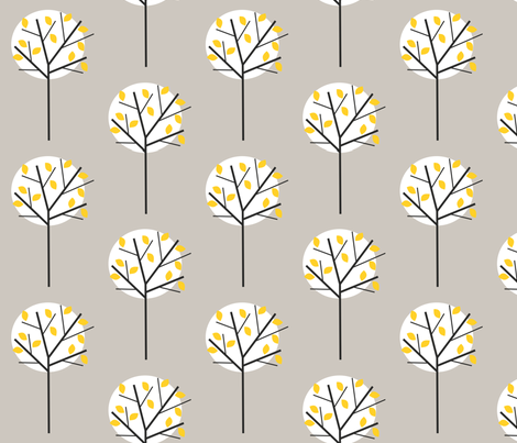 Moonlight_Tree_Stone Grey fabric by louise_brainwood_designs on Spoonflower - custom fabric