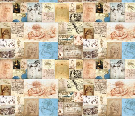 Leonardo Da Vinci Mosaic fabric by eieio687 on Spoonflower - custom fabric