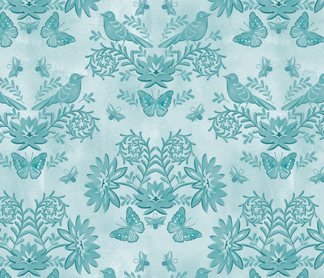 tonal damask blue fabric by cjldesigns on Spoonflower - custom fabric