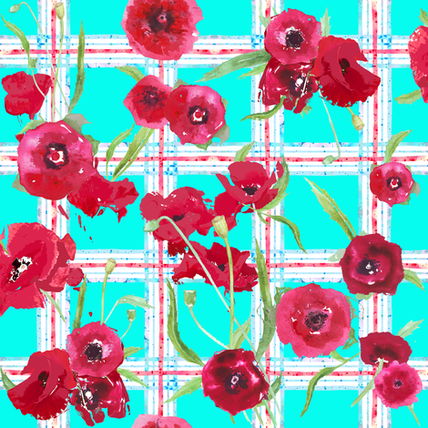 aqua_poppy_plaid_red_update fabric by katarina on Spoonflower - custom fabric