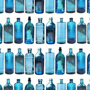 blue glass bottles small