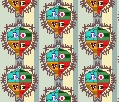 Love Crest fabric by lesliecassidy on Spoonflower - custom fabric