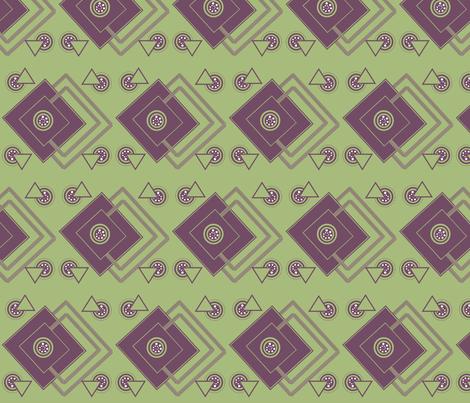 geometric_intricate_ purple,green, white fabric by anino on Spoonflower - custom fabric