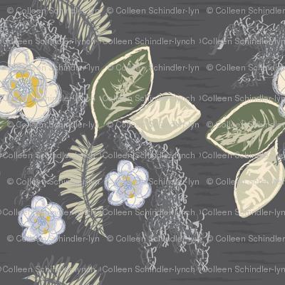 NOLA Magnolias-Charcoal