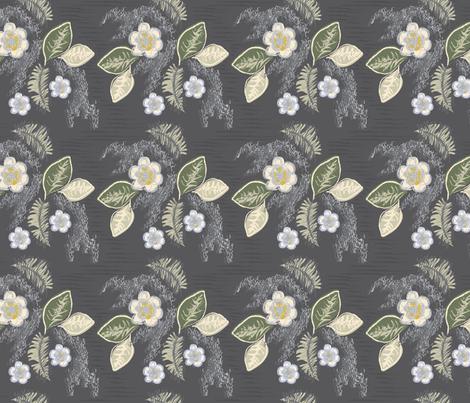 NOLA Magnolias-Charcoal fabric by csl on Spoonflower - custom fabric