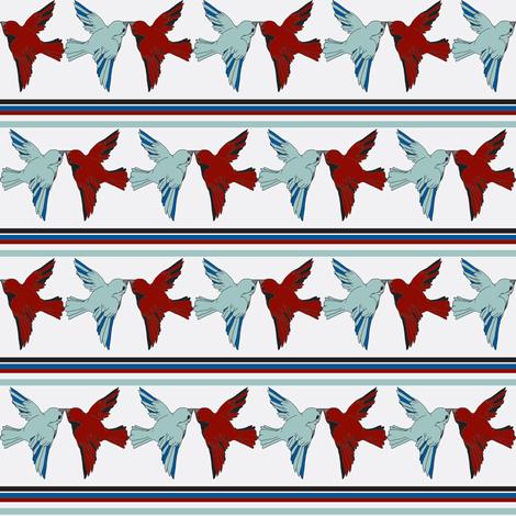 birdkiss with red fabric by luluhoo on Spoonflower - custom fabric