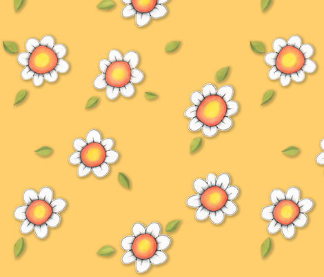 Daisy Joy on Yellow fabric by floating_lemons on Spoonflower - custom fabric