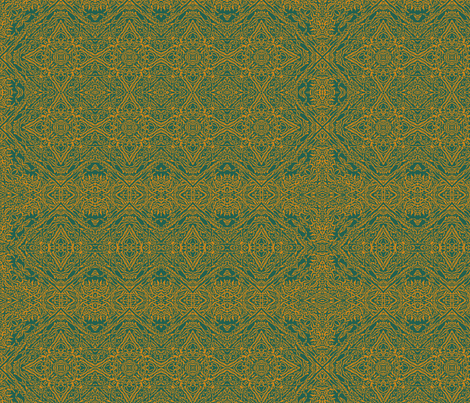 Teal and orange ornate fabric by wren_leyland on Spoonflower - custom fabric