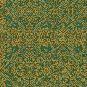 Teal and orange ornate