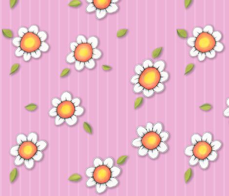 Daisy Joy on Pink Stripes fabric by floating_lemons on Spoonflower - custom fabric