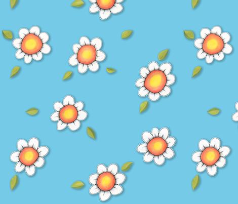 Daisy Joy on Blue fabric by floating_lemons on Spoonflower - custom fabric