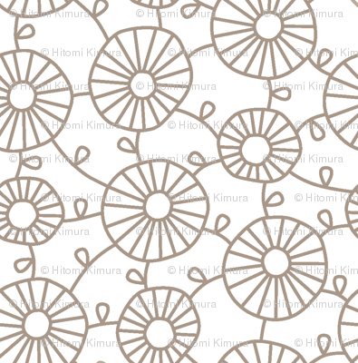 FLOWERCHAIN Beige on White