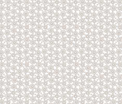 FLOWERCHAIN Beige on White fabric by hitomikimura on Spoonflower - custom fabric
