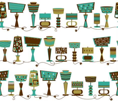 Retro-Luxe Lighting (turquoise, brown and gold) fabric by retrorudolphs on Spoonflower - custom fabric