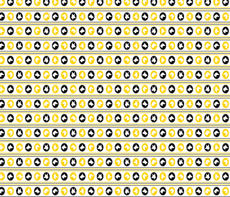 dog cameo stripes BLACK & YELLOW fabric by ravynka on Spoonflower - custom fabric