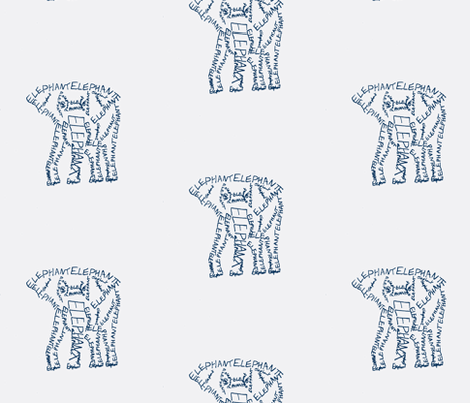 Elephant Calligram 2 fabric by blue_jacaranda on Spoonflower - custom fabric