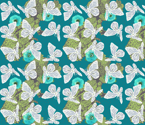 butterflies on lace and poppies in teal fabric by katarina on Spoonflower - custom fabric