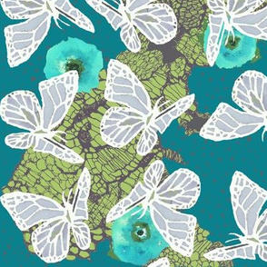 butterflies on lace and poppies in teal