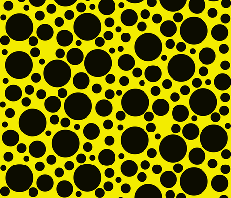 Random black dots on bright chrome yellow. fabric by whimzwhirled on Spoonflower - custom fabric