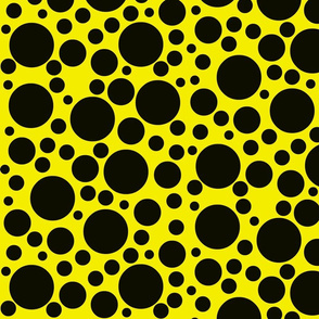 Random black dots on bright chrome yellow.