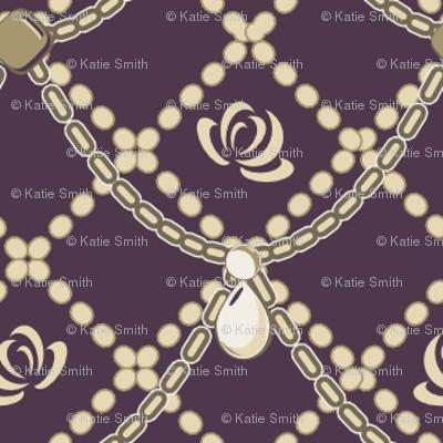 Cream Pearls & Roses Purple