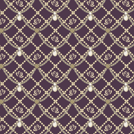 Cream Pearls & Roses Purple fabric by eppiepeppercorn on Spoonflower - custom fabric