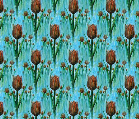 painted_tulipes_field fabric by vinkeli on Spoonflower - custom fabric