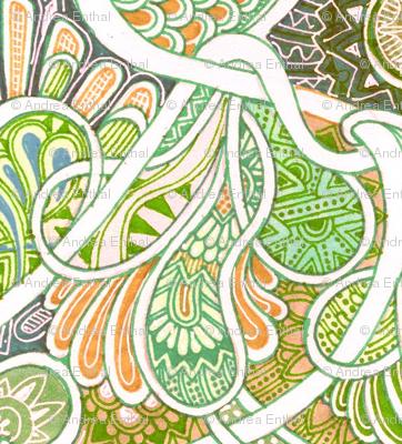 For Love of Paisley (big, soft orange/green)