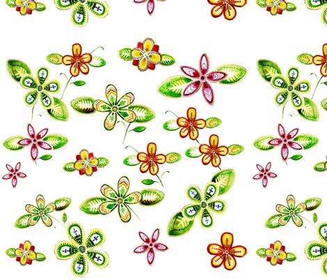 Beaded_Floral_Printed_Fabric fabric by crossing_sky on Spoonflower - custom fabric
