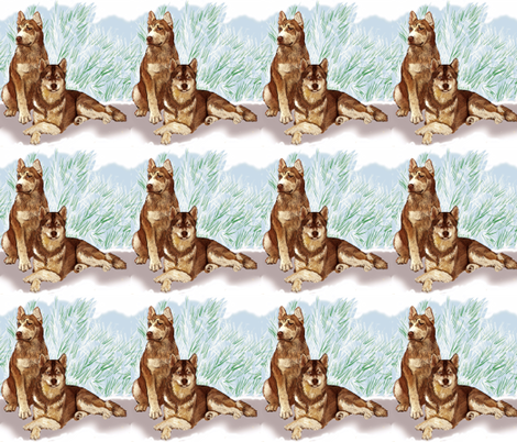 Siberian Huskies In The Snow fabric by dogdaze_ on Spoonflower - custom fabric