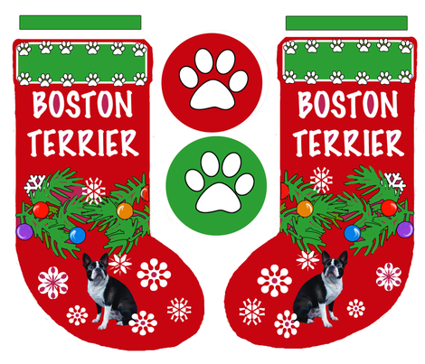 Boston Terrier Cut and Sew Christmas Stocking fabric by dogdaze_ on Spoonflower - custom fabric