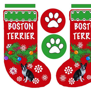 Boston Terrier Cut and Sew Christmas Stocking