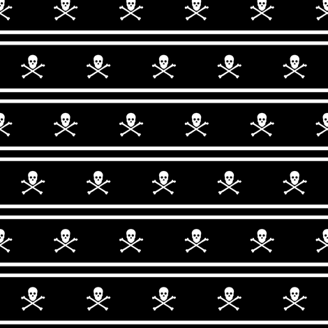 White Skull and Crossbones and Cross Stripes on Black fabric by littlemisscrow on Spoonflower - custom fabric
