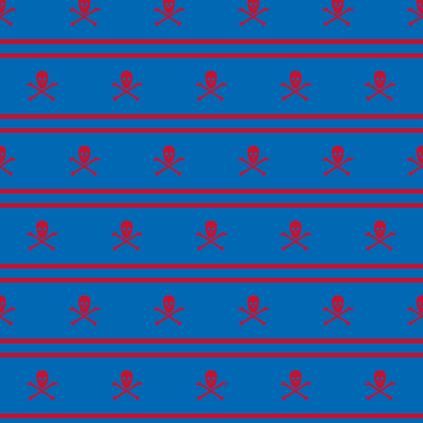 red Skull and Crossbones and Cross Stripes on blue fabric by littlemisscrow on Spoonflower - custom fabric