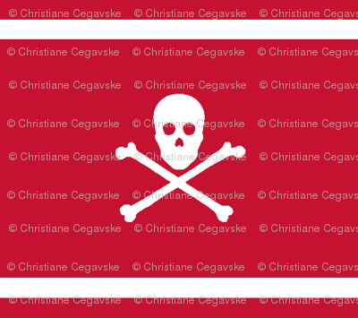 White Skull and Crossbones and Cross Stripes on Red