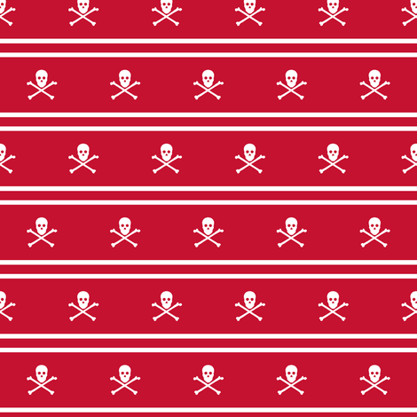 White Skull and Crossbones and Cross Stripes on Red fabric by littlemisscrow on Spoonflower - custom fabric