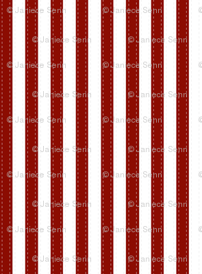 Red and White stripes with faux stitching