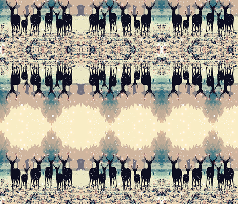 Deer in the snowy forest fabric by cutiecat on Spoonflower - custom fabric