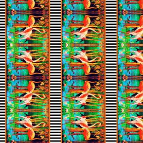 Flamingo border fabric