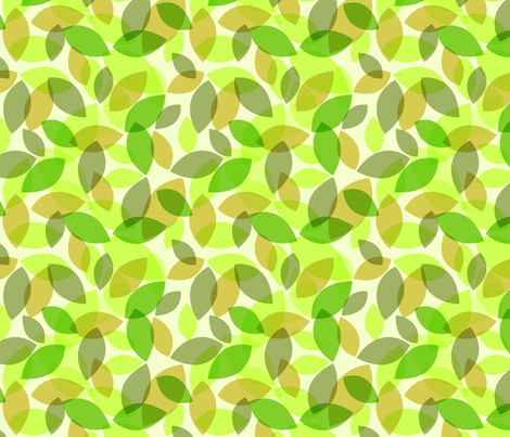 green leaves in forest moss fabric by creative_merritt on Spoonflower - custom fabric