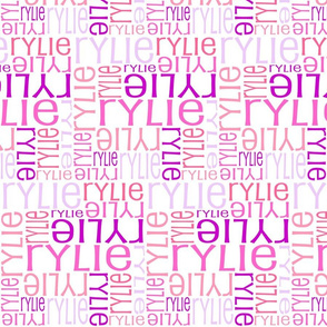 Personalised Name Fabric - Pinks Coral Purple